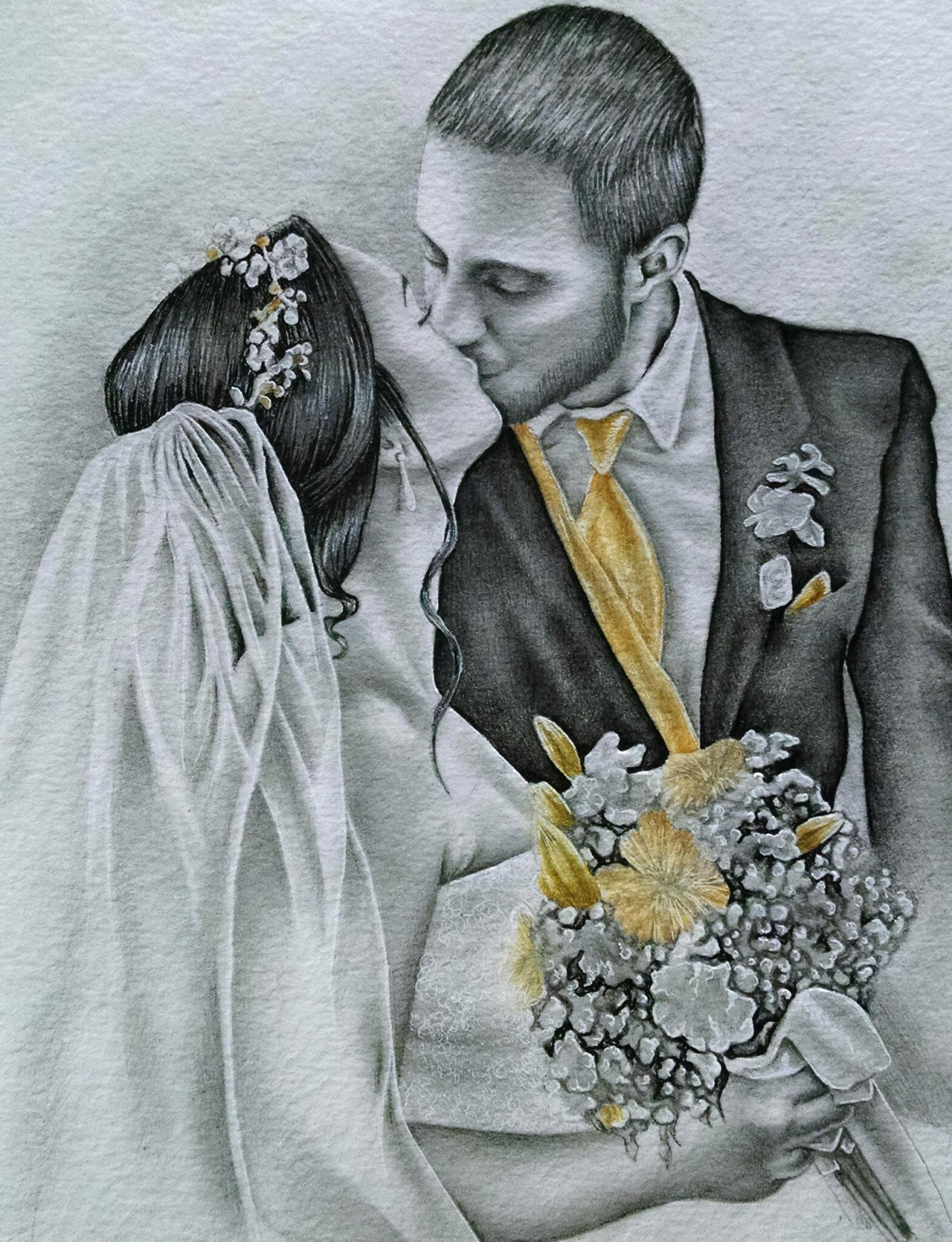 Свадебные картинки красивые карандашом