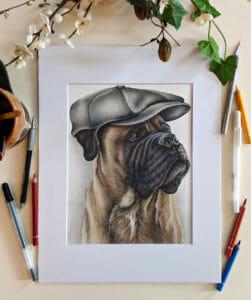 custom pet portrait - colored pencil dog drawing
