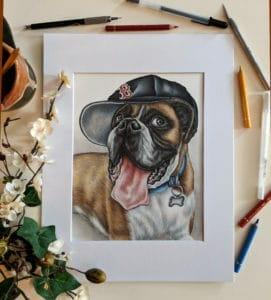 custom dog drawing - pet portrait of a dog