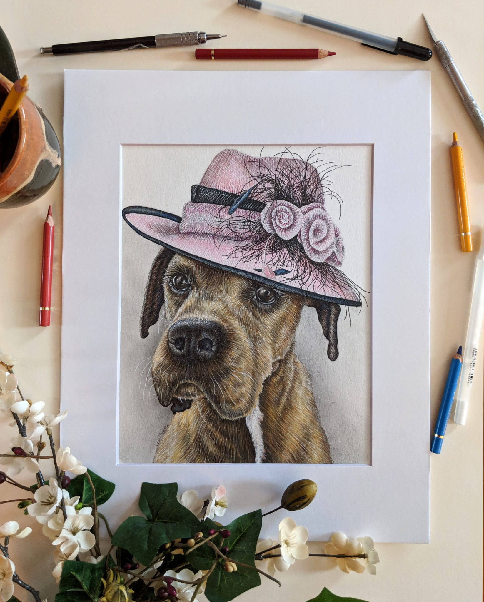 NEW Pet Portrait: Lucy || Colored Pencil Dog Drawing