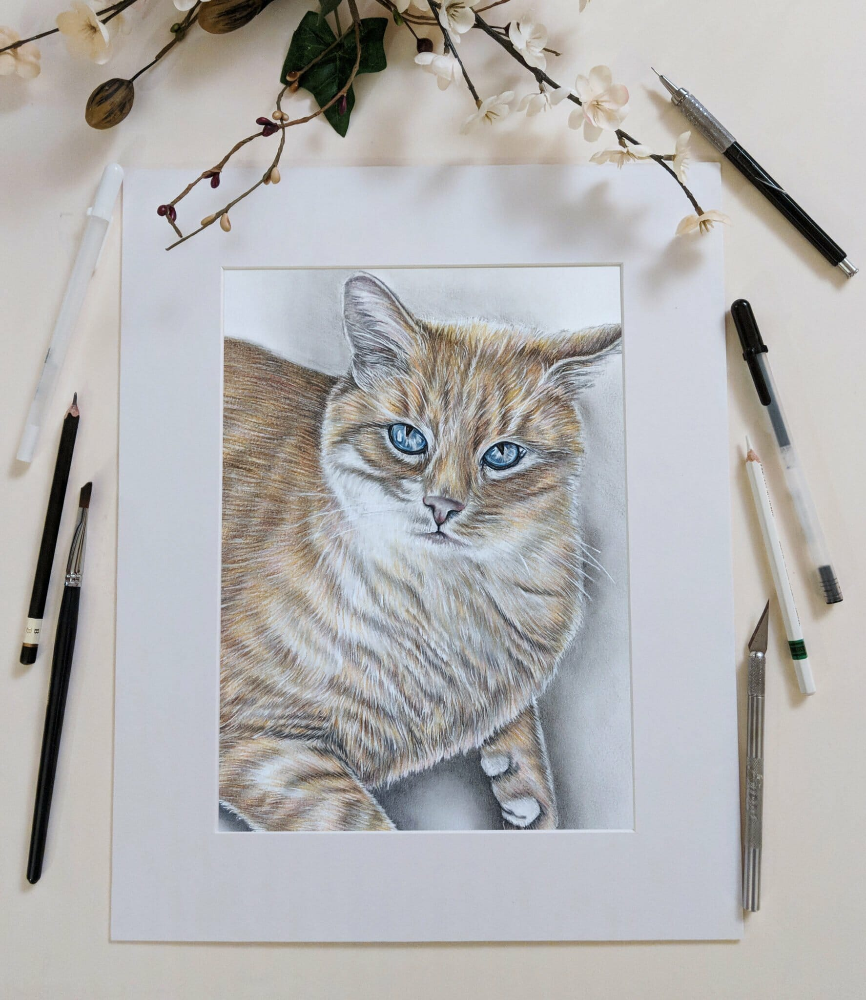Custom Pet Portrait: Cat Drawing